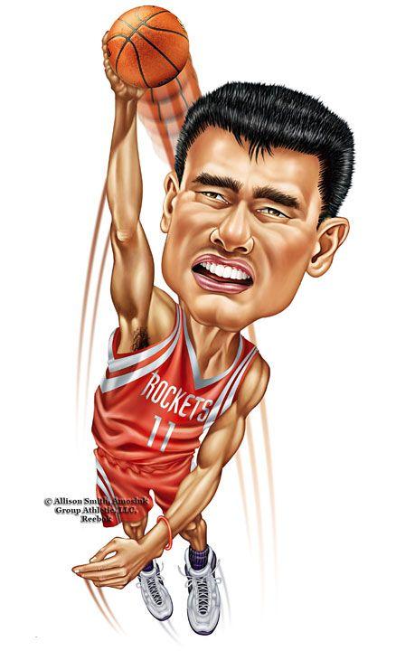 Basket Art By Samuel Yao : Nba news corner yao ming funny fan arts cartoons