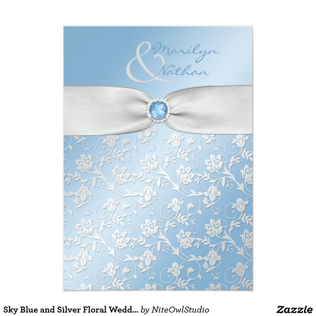 Sky Blue And Silver Floral Wedding Invitation Zazzlecom