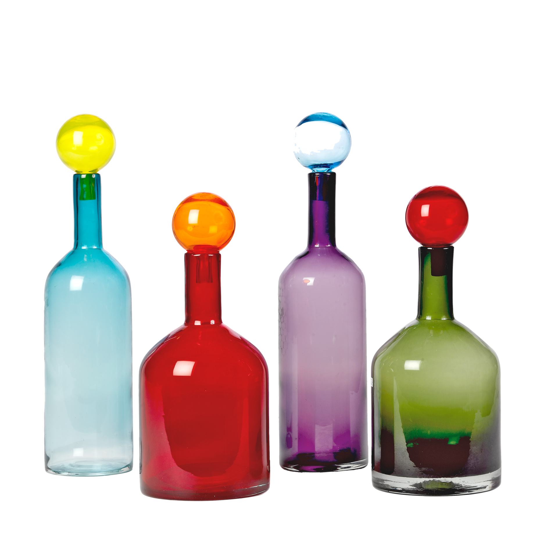 Coloured glass water bottles with stoppers