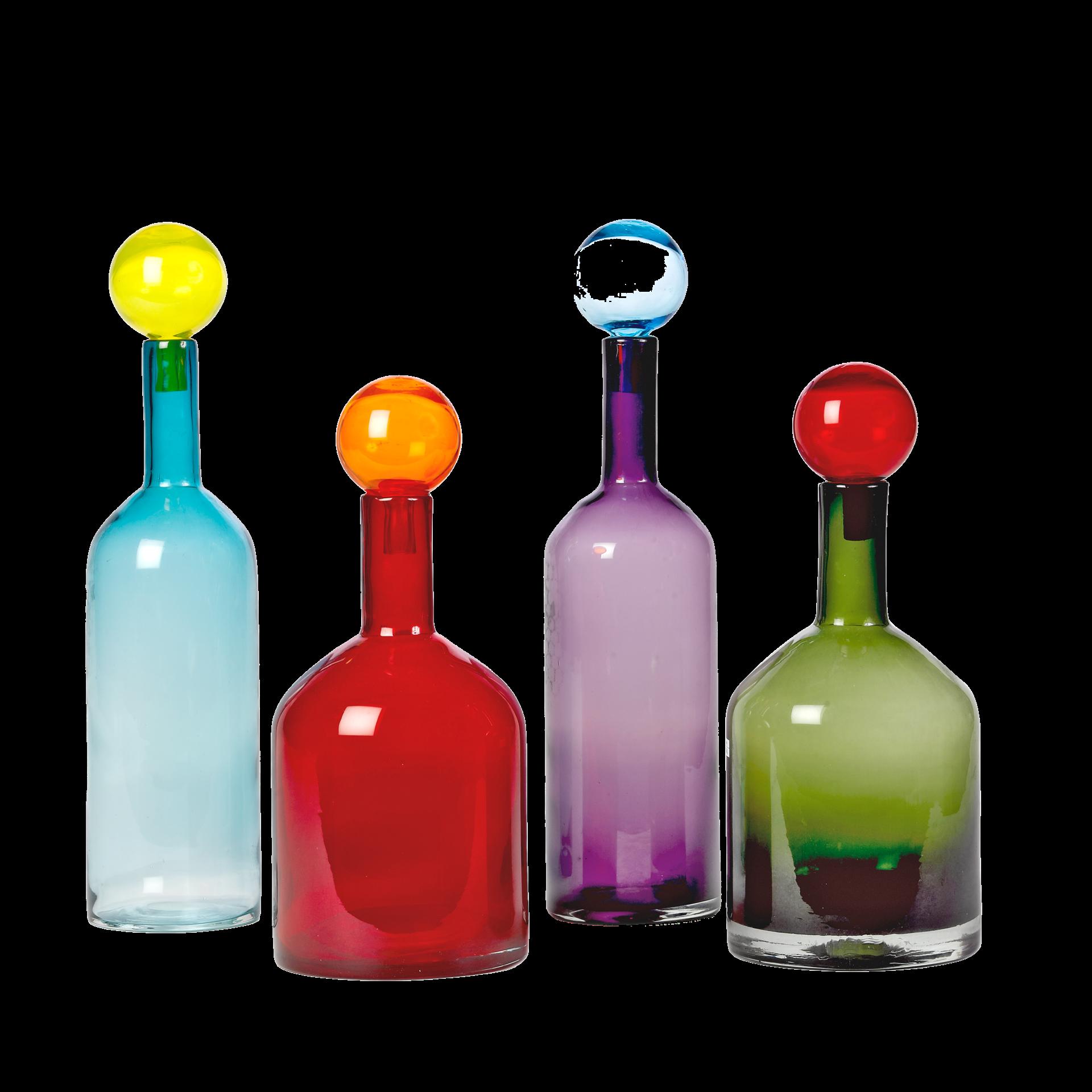 Glass Bottles Decorative Set Of 4 Glass Bottles Wbubble Caps Vibrant Colors  Bidkhome