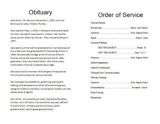 Funeral Program Obituary Template  Something To Remember