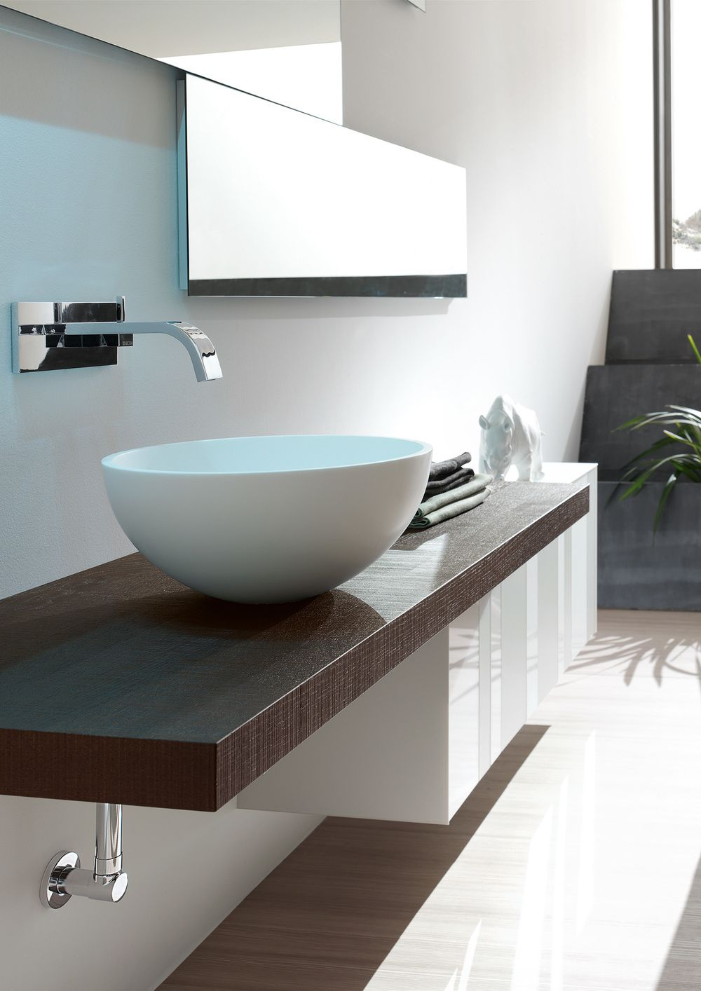 Arcom mobile arredobagno composto da un piano in rovere moka lavabo appoggio e base sospesa