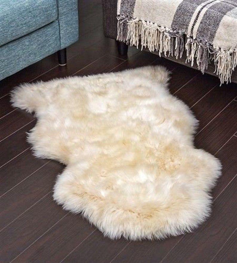 Genuine Real Sheepskin Rug Champagne Sheepskin Rug Single Pelt Etsy In 2020 White Sheepskin Rug Sheepskin Rug Lambskin Rug