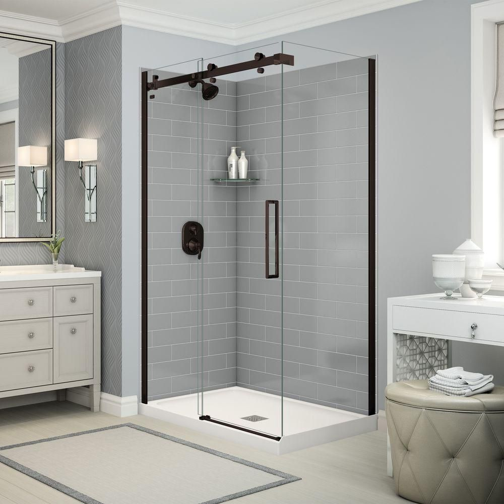 Utile By MAAX 32 In. X 48 In. X 83.5 In. Direct To Stud Corner Shower Kit  In Metro Ash Grey With Dark Bronze Door 106329 000 001 100   The Home Depot