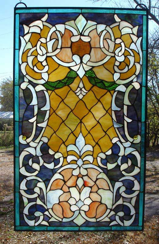 Autumn Evening Stained Glass Panel