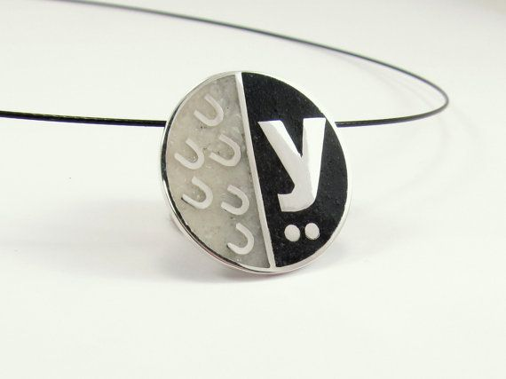 Sterling silver Pendant  Black and White Letters by maldonadojoyas, $55.00