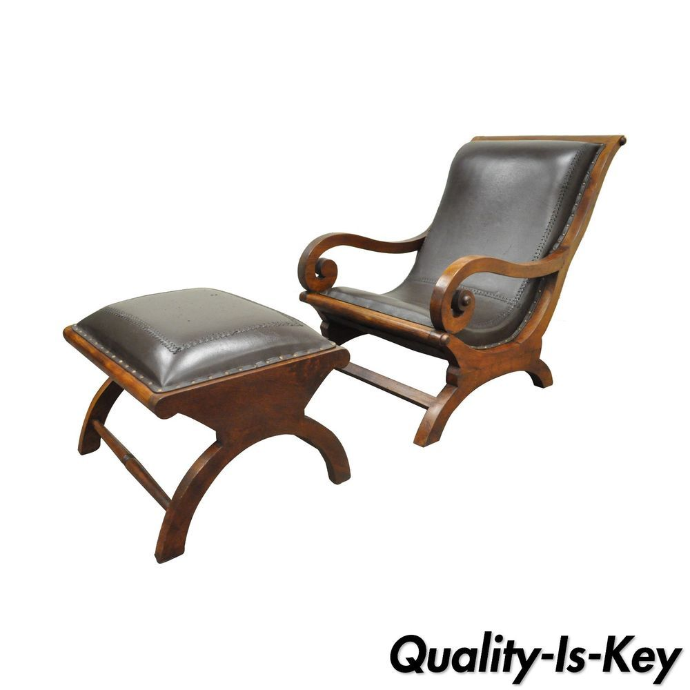 Teak plantation chair - British Colonial Augusto Teak Wood Leather Plantation Lounge Chair Ottoman