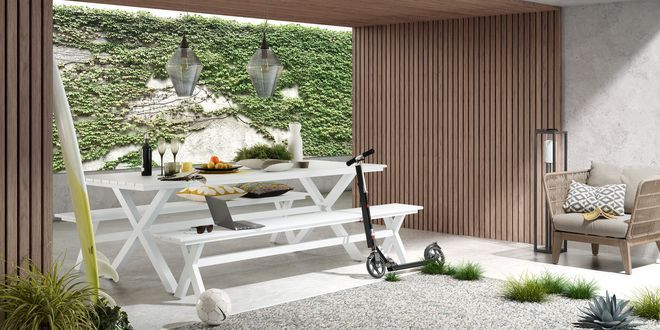 Un banc en bois pour une salle à manger à l'esprit bohème