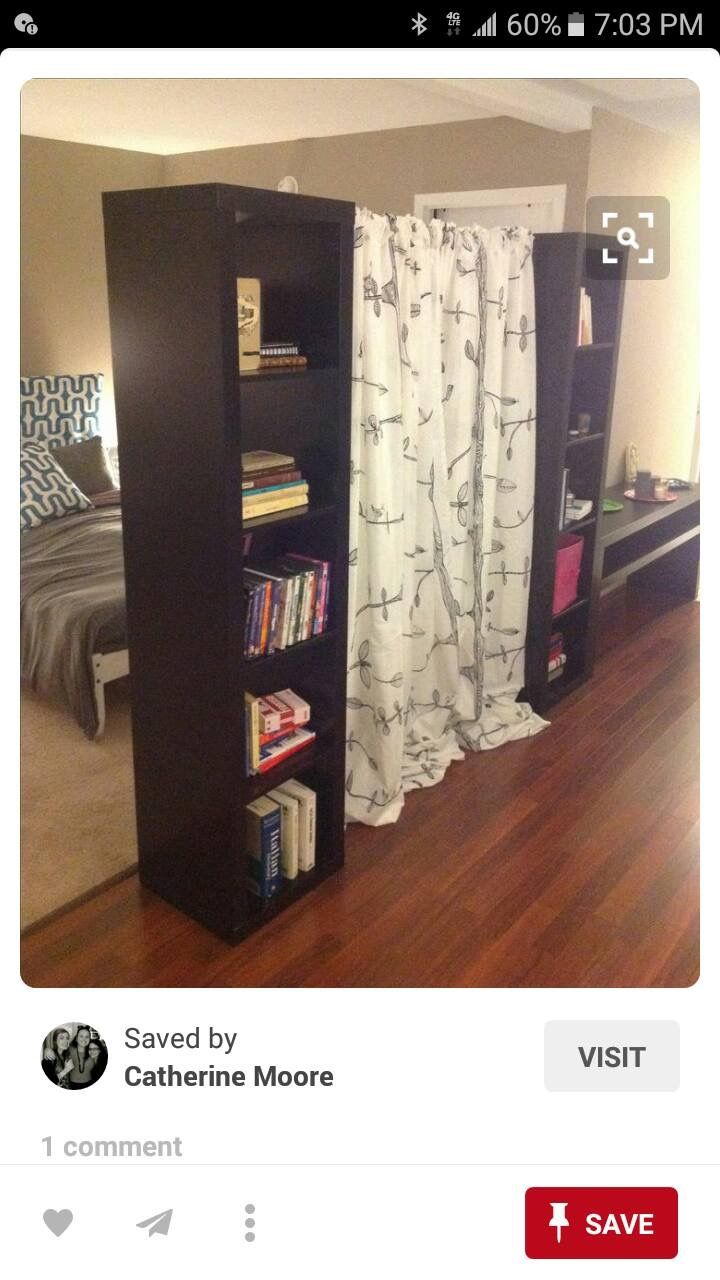 Bookcase and curtain combo room divider houston pinterest room