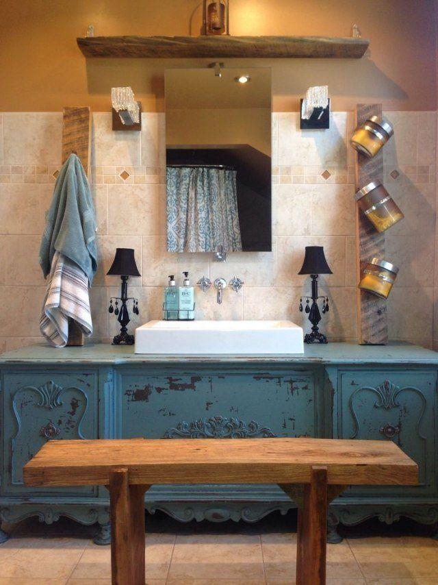 meuble salle bains pas cher mode vintage bleue vasque blanc