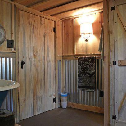 Pin By Tracy Haynes On Home Deco Tin Shower Walls Barn Wood Bathroom Craftsman Bathroom