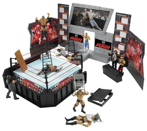 09fa18793719 WWE Wrestling RAW Tables, Ladders and Chairs Arena Playset Ring with John  Cena and Batista Action Figures