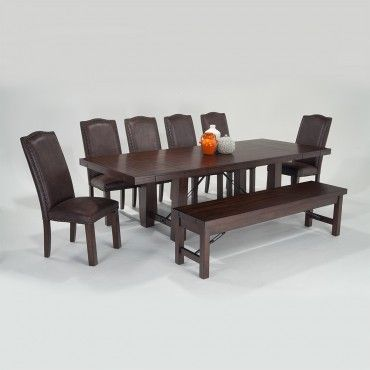Mesa 8 Piece Dining Set With Storage Bench And Upholstered Side Enchanting 8 Piece Dining Room Set Design Decoration