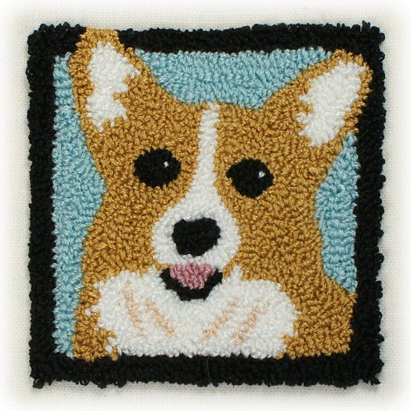 Rug Dogs Embroidery Designs: Punchneedle Embroidery Pattern: Welsh Corgi