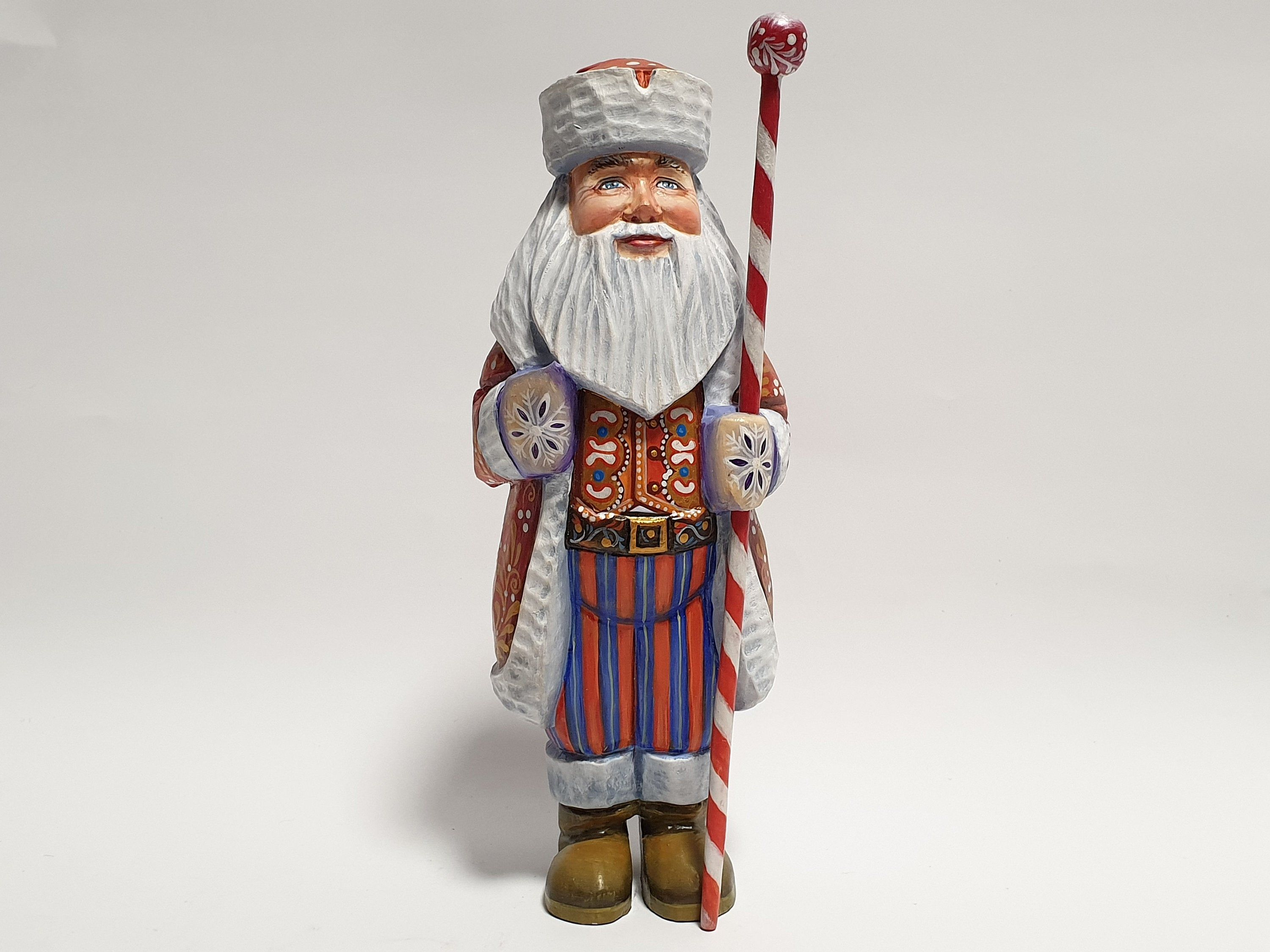 Home decor Wooden figurines Father Frost Hand Carved Wooden SANTA CLAUS Hand carved figurines Christmas decoration Santa Claus
