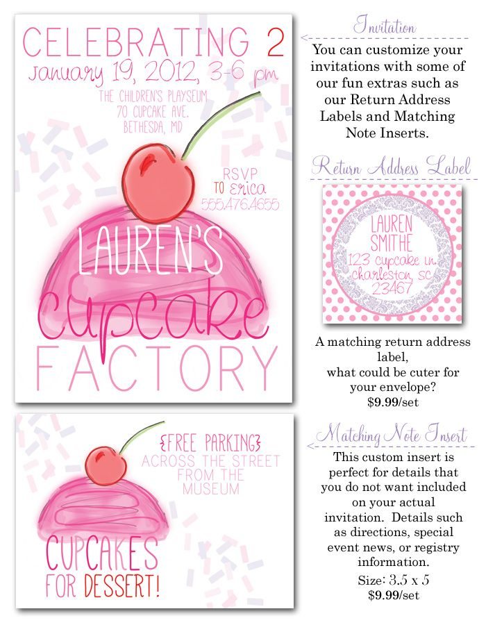 cupcake birthday party, cupcake party invites, cupcake factory ...