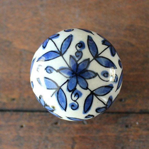 Ceramic Drawer Knobs / Cabinet knobs Ball with Delft Blue Flower ...