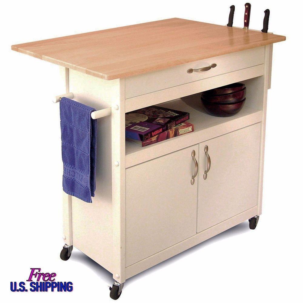 Wood Utility Cabinet Kitchen Island Cart Rolling Storage Utility Cabinet Portable White