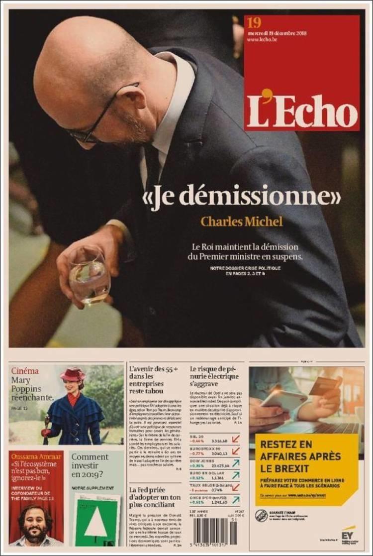 """A la une de la presse belge """"game over"""" pour le"""