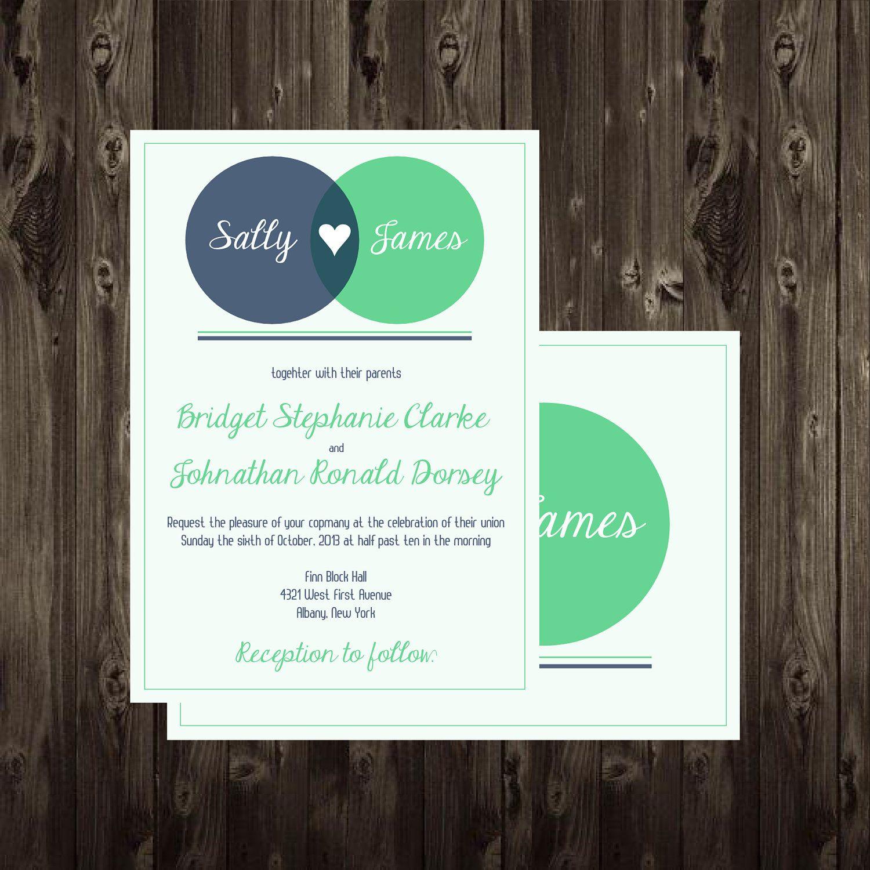 Wedding Invitation Diy Printable Venn Diagram 5x7 Digital File Math