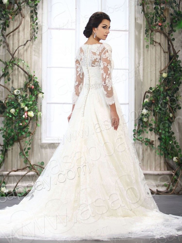 a-line lace wedding dress with 3/4 sleeves. Love. | Wedding ...
