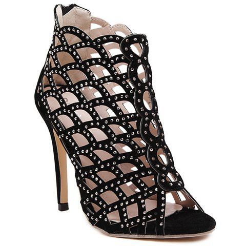 Sexy High Heel Women's Sandals With Hollow Out and Rhinestones