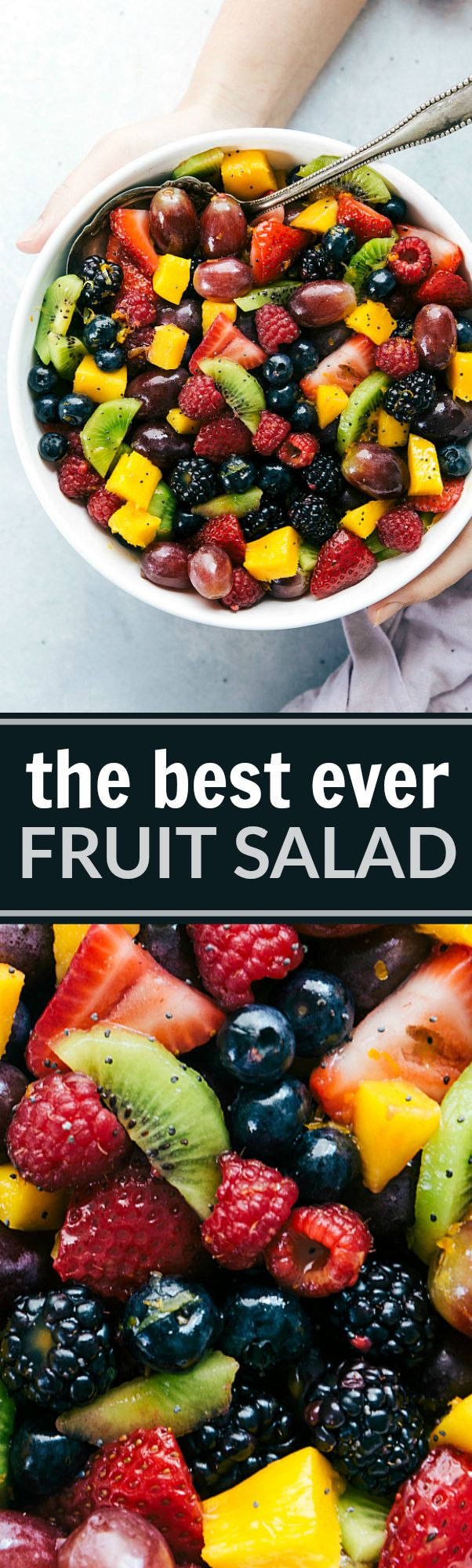 The best ever fruit salad coated in a simple blackberry lime dressing. Perfect for potlucks, summer parties, or a side dish to your meals! #fruitsalad