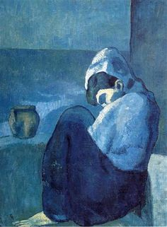 Crouching woman- Misereuse accroupie - Pablo Picasso, 1902, oil on canvas