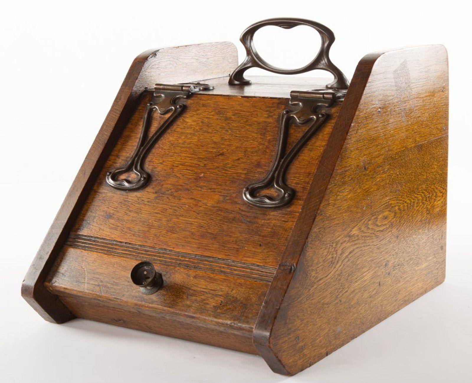 Antique coal scuttle box w brass strapwork arts crafts
