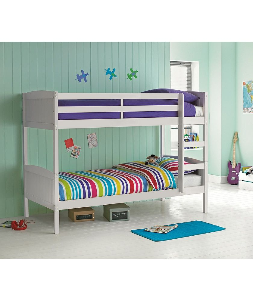Buy detachable single bunk bed frame white at - Childrens pine bedroom furniture ...