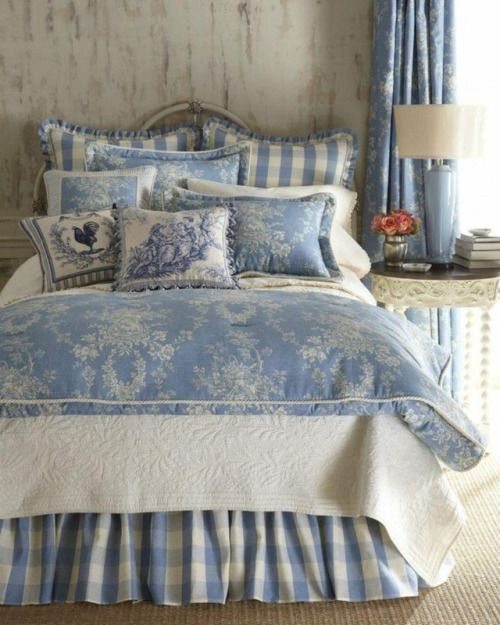 Light Blue Toile And White Matelasse Bedding We Have The Main Fabric Of The Duvet Cover T Country Bedroom Decor French Country Decorating Bedroom Blue Bedroom