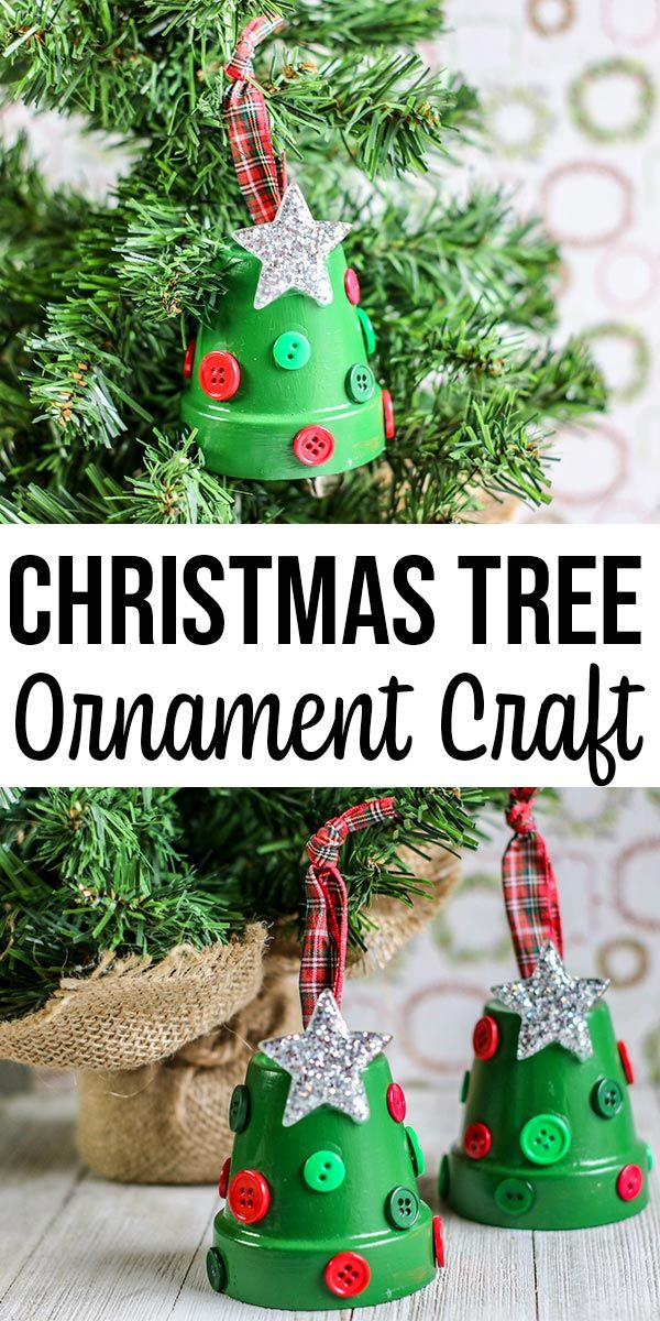 Christmas Tree Clay Pot Ornament Craft for Kids