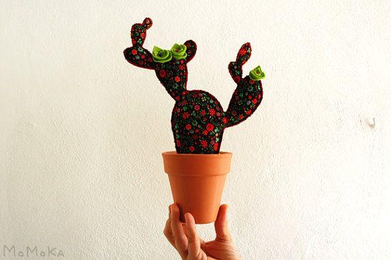 Prickly Frida Kahlo Cactus Textile plant. Patchwork by momokashop