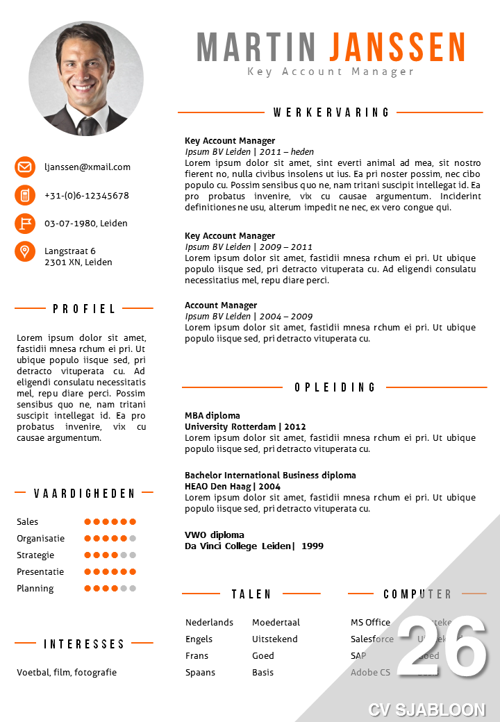 Cv Sjabloon  Cv Template   Cv    Cv Template And