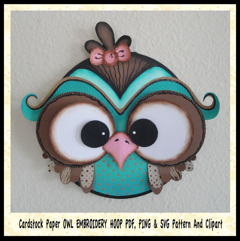Scrapbook paper cardstock - 3d Scrapbooking Cardstock Paper Owl 7 Embroidery Hoop Pdf Pattern Plus Svg Ping Files