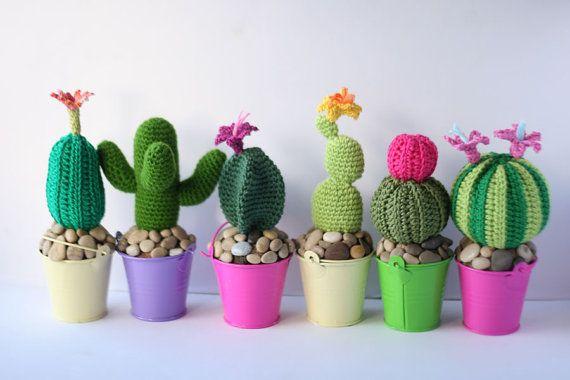 Amigurumi Cactus Crochet Pattern : Pdf pattern amigurumi cactus 2 round potted cacti plant by tomtoy
