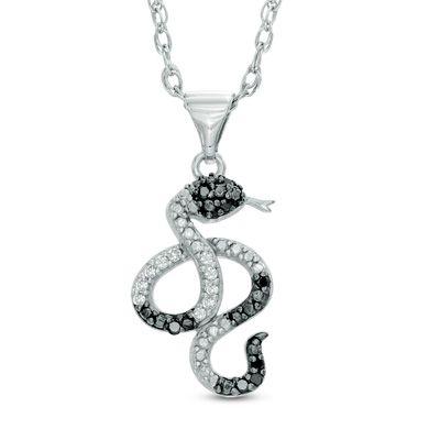Zales 1/10 CT. T.w. Enhanced Black and White Diamond Lizard Pendant in Sterling Silver 9tVt8h0u