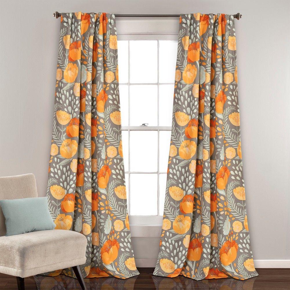 Poppy Garden Room Darkening Window Curtain Panels Yellow Gray 52