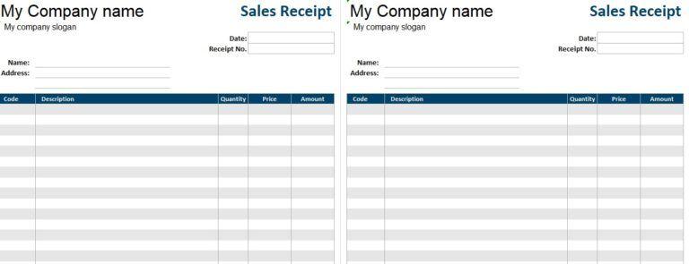 Printable Sales Receipt Template Invoice Template Word Invoice Template Excel Templates