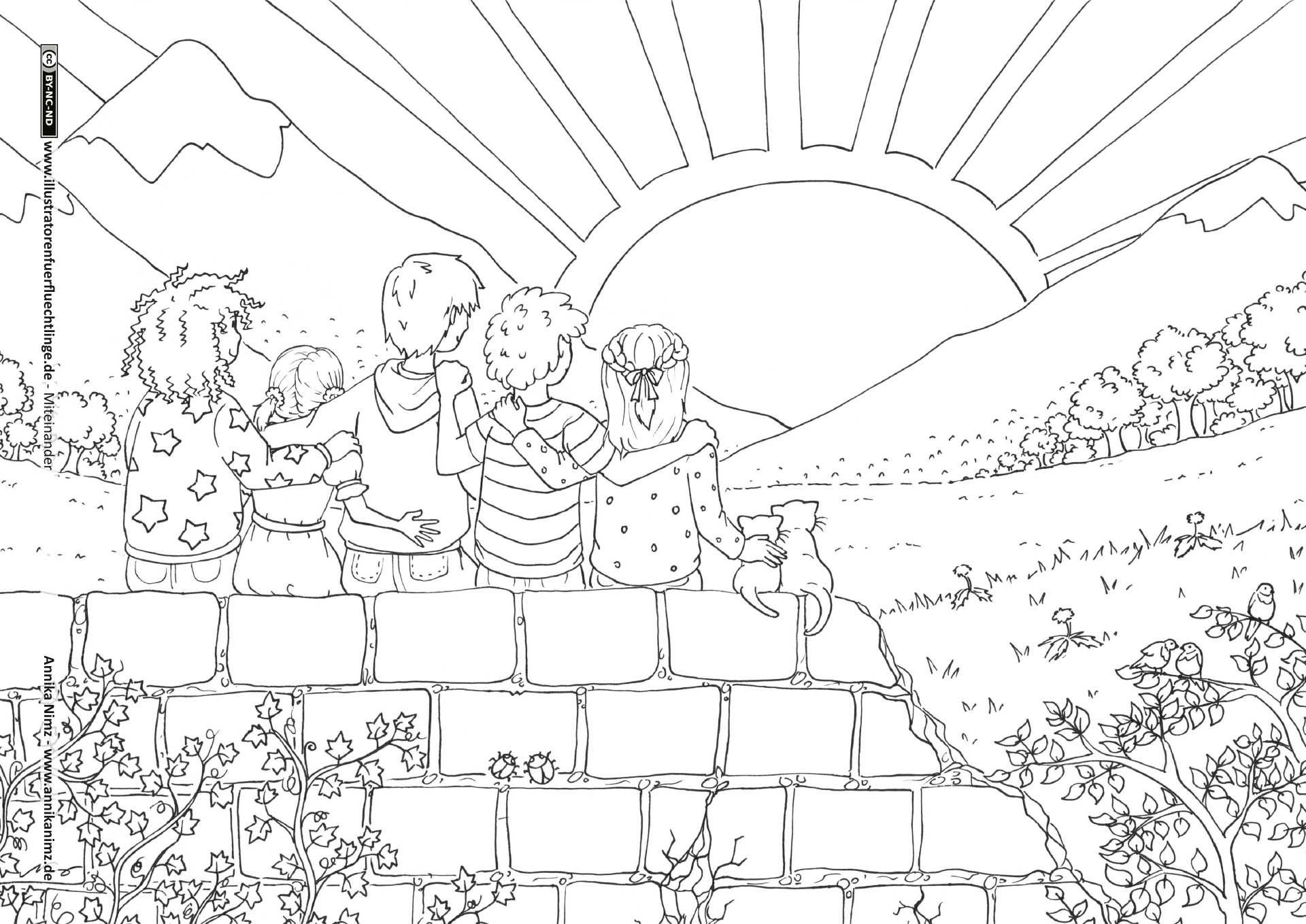 Freundschaft Kinder Sonnenuntergang Freundschaft Sonnenuntergang Ausmalbilder