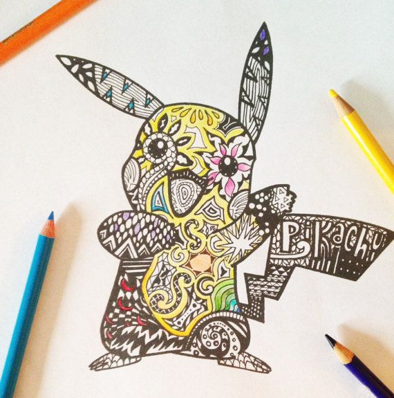 Pikachu Zentangle Coloring Page PDF Instant by LeiaTangles ...