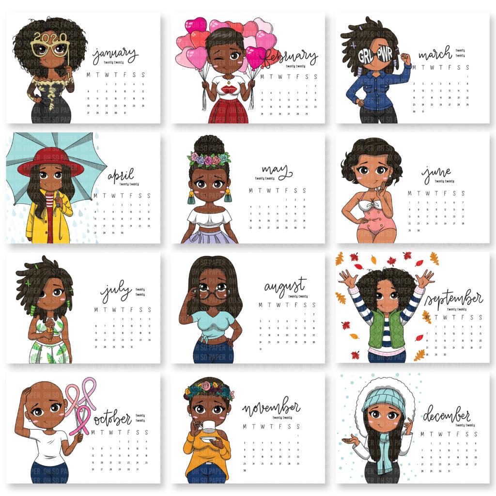 Mini Friends 2020 Desktop Calendar w/ Easel Cute