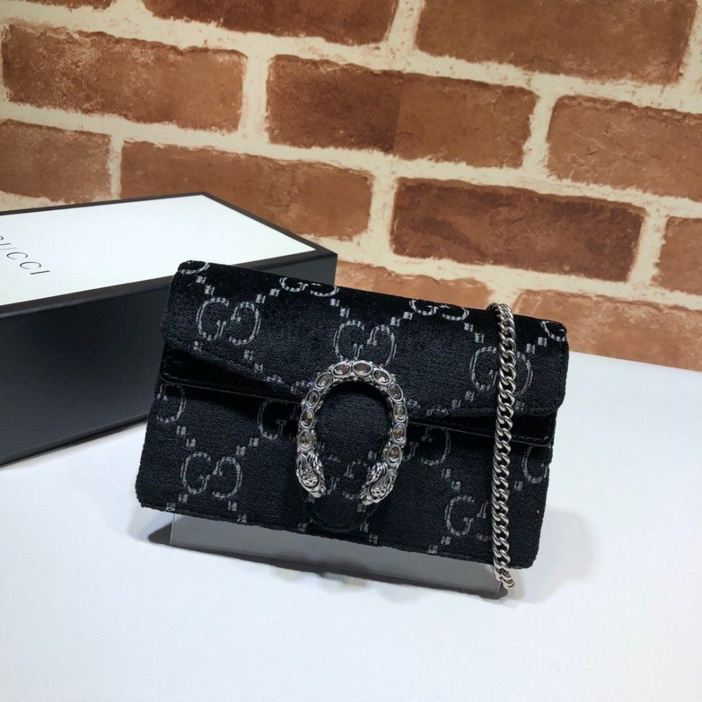 Gucci Dionysus GG velvet super mini bag 476432 Black  7ccd41315ae