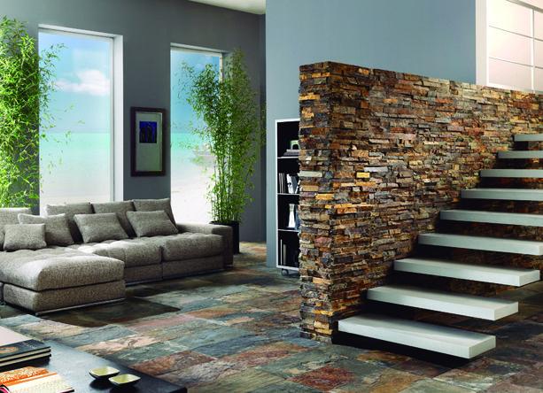 Revestimiento piedra natural nepal 30x60cm azteca pavimento de pizarra natural calibrada para - Revestimiento paredes imitacion piedra ...