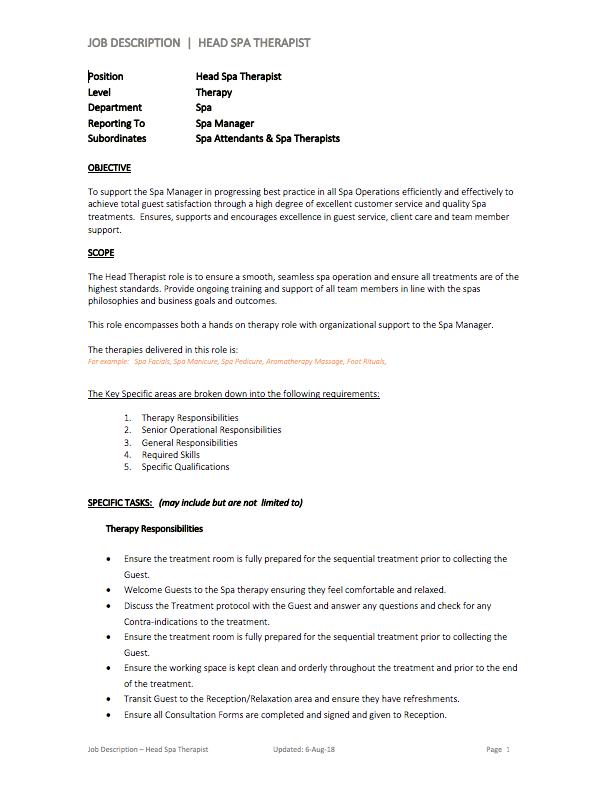 Spa Head Therapist Job Description