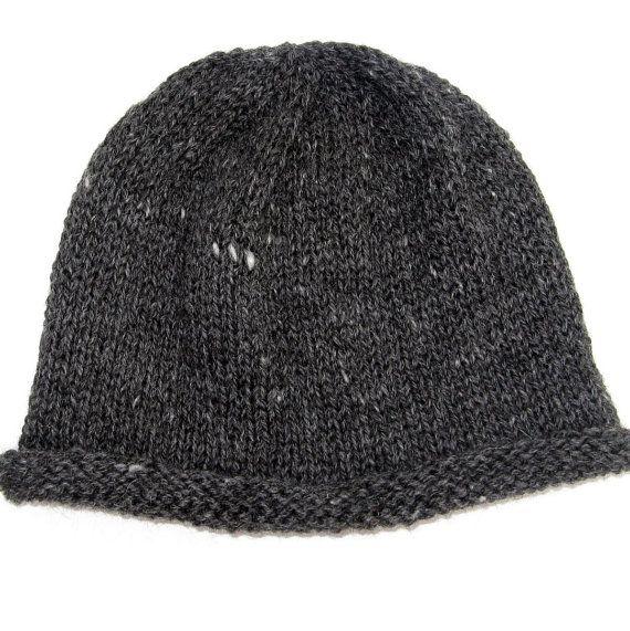 22071350ab8 hand-knit farm-grown black   grey alpaca + como sheep fleece - men s hat  (22
