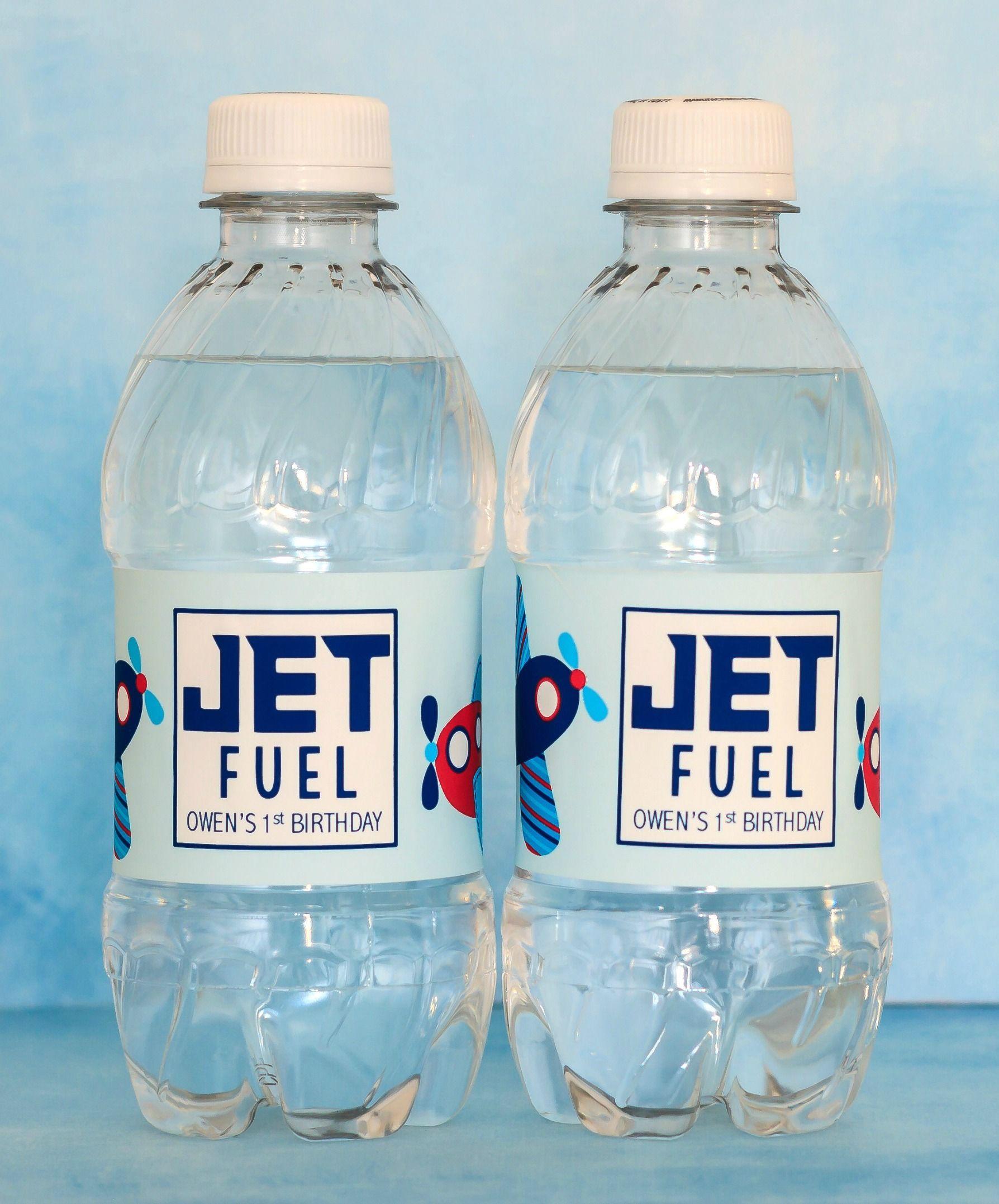 Airplane Birthday Water Bottle Labels Waterproof