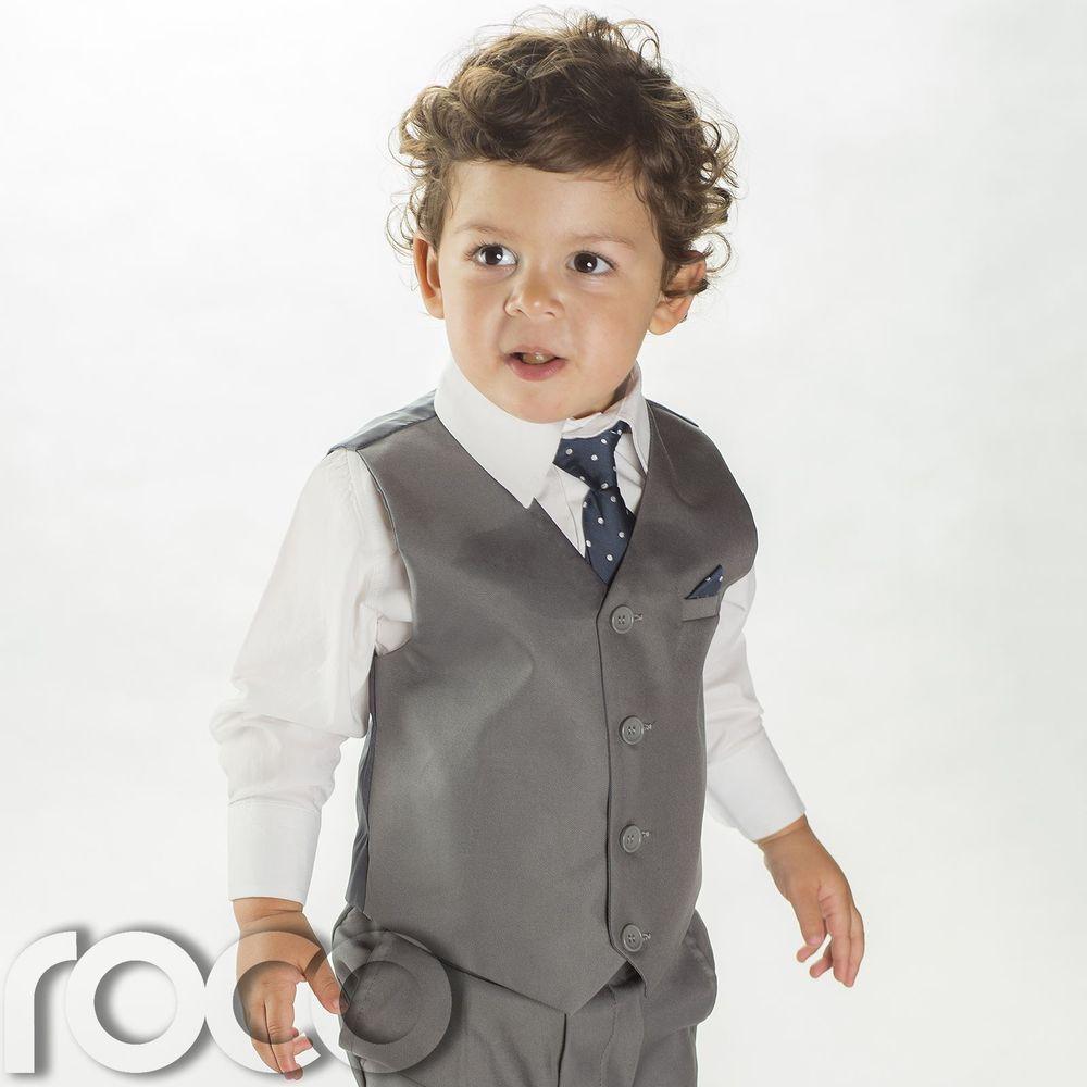 Boys grey suit, Boys Page Boy suits, Boys grey waistcoat suit, Boys ...