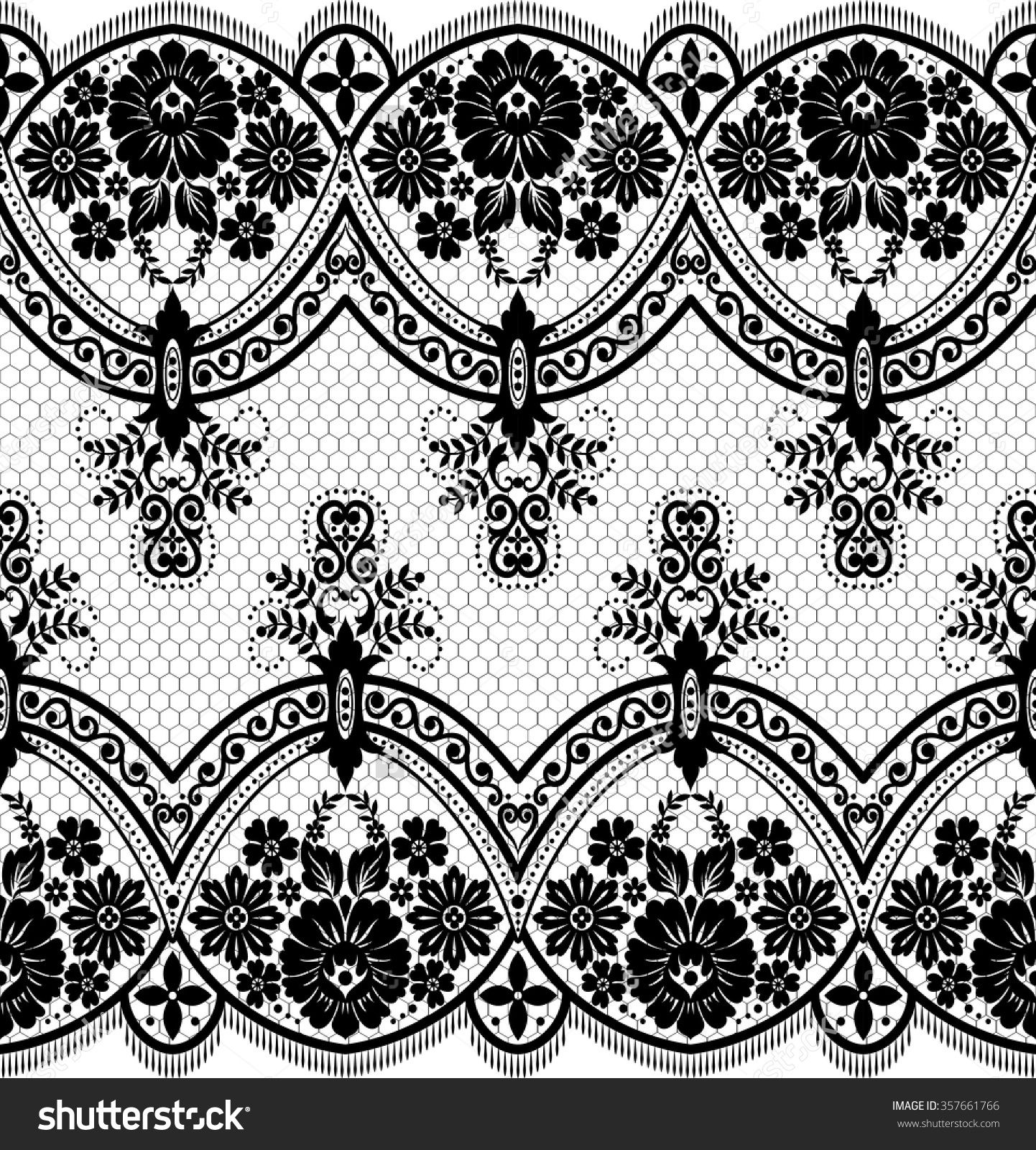 Seamless Lace Pattern Flower Vintage Vector Background Border