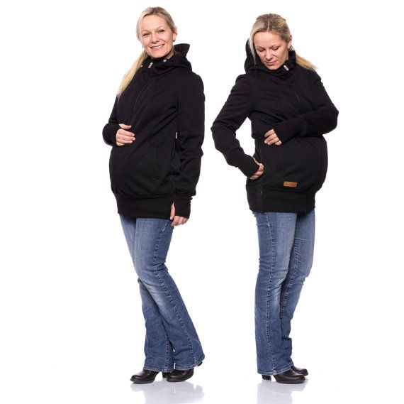 Viva la Mama | Baby Carrying Softshell Jacket AVENTURO (3in1- black, water-repellent, windproof). Outdoor jacket for pregnancy, maternity, baby wearing and everyday use. Mommy and baby are protected from rain, wind and cold. Perfect companion for outdoor and mountain moms!:)